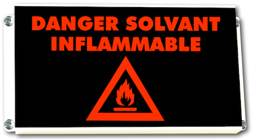 Signalisation lumineuse DANGER SOLVANT INFLAMMABLE avec pictogramme flamme